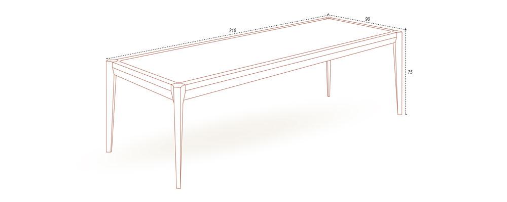 210cm實木餐桌